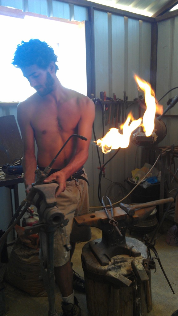 Levi in his workshop