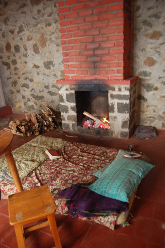 Our communal bed by the fire