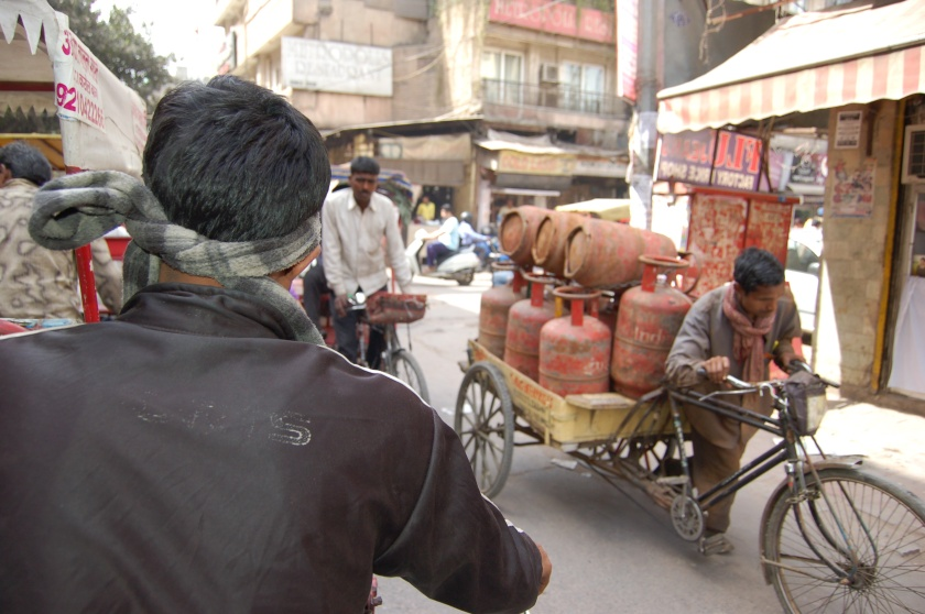 Our first real look at Delhi was from the carriage of a bicycle rickshaw
