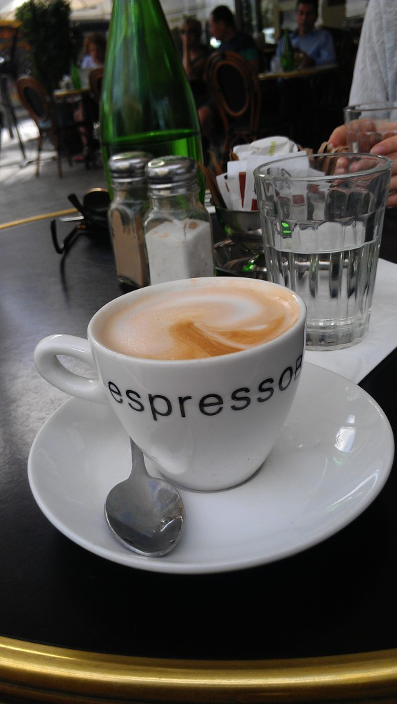 "My favorite spot to sit for a cappuccino""Espresso Bar"" on the corner of Herzl and Rothschild"